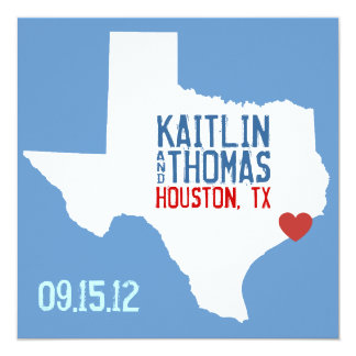 Save the Date - Customizable - Texas 5.25x5.25 Square Paper Invitation Card