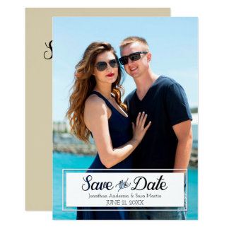 Save The Date Cut Out Text Vertical Photo Card