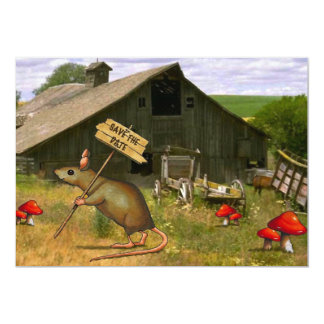 Save The Date: Cute Country Mouse Holding Sign Card