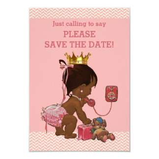 Save The Date Cute Ethnic Princess on Phone Card
