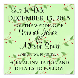 Save the Date Cute Green & Red Berries Pattern Inv Card