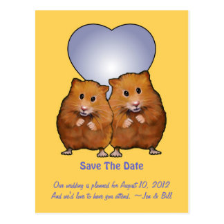 Save The Date: Cute Hamster Couple: Heart Postcard