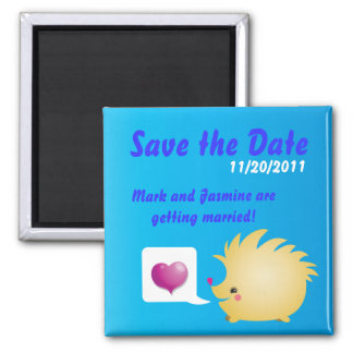 Save the Date Cute Love Heart and hedgehog Fridge Magnet