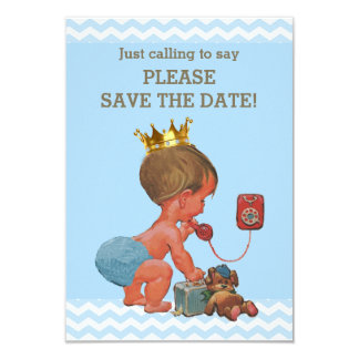Save The Date Cute Prince on Phone Gray Blue Card