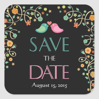 Save the Date Cute Stylish Swirl Floral Love Birds Square Sticker