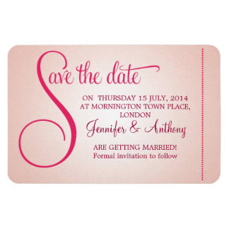 save the date cute sweet pink wedding magnets