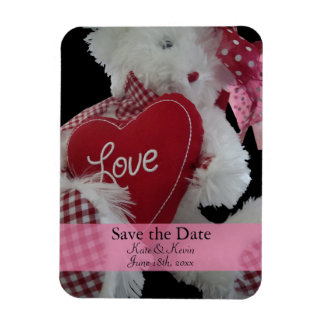 Save the Date Cute Teddy Bear Personalized Wedding Rectangular Photo Magnet