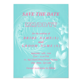 Save the Date - Cyan Abstract Flowers 6.5x8.75 Paper Invitation Card