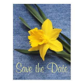 Save the Date Daffodil & Denim Postcard