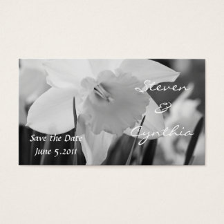 Save the date daffodil in black and white business card
