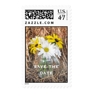 Save The Date: Daisies & Black Eyed Susans On Hay Postage