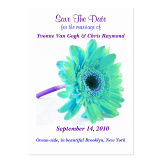 Save The Date Daisy Blue Green Large Business Cards (Pack Of 100)