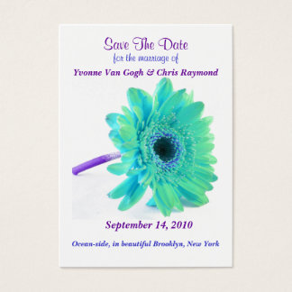 Save The Date Daisy Blue Green Business Card