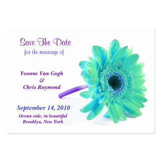 Save The Date Daisy Blue Green I Large Business Cards (Pack Of 100)