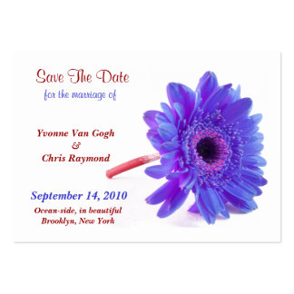 Save The Date Daisy Blue Purple I Large Business Cards (Pack Of 100)
