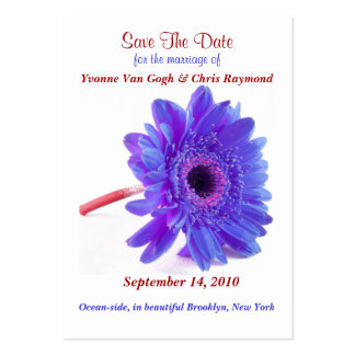 Save The Date Daisy Blue Purple Large Business Cards (Pack Of 100)