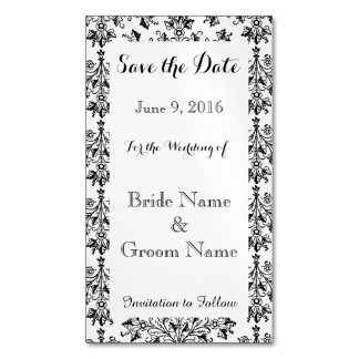Save the Date Daisy Damask Custom Magnetic Card