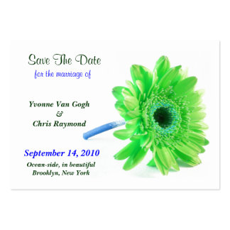 Save The Date Daisy Light Green Blue I Large Business Cards (Pack Of 100)