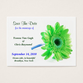Save The Date Daisy Light Green Blue I Business Card