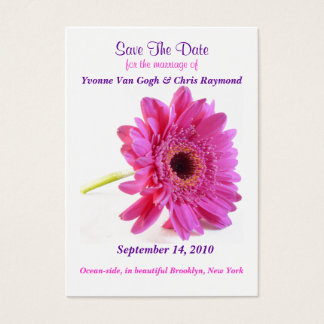Save The Date Daisy Pink Business Card