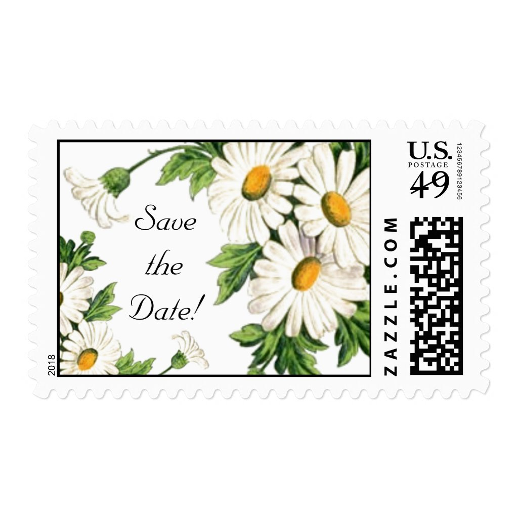 Save the Date Daisy Wedding Stamps