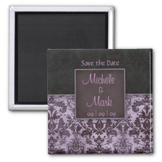 Save the Date Damask Magnet Purple