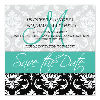 Save the Date Damask Monogram Name Turquoise Personalized Announcements