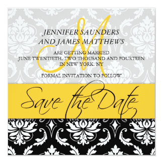 Save the Date Damask Monogram Name Yellow Invite