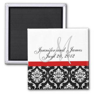 Save the Date Damask Monogram Wedding Magnet Refrigerator Magnets
