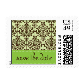 save the date damask postage