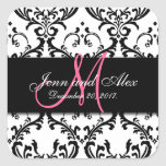 Save the Date Damask Stickers Monogram