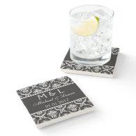 Save the Date damask stone coasters black white Stone Beverage Coaster