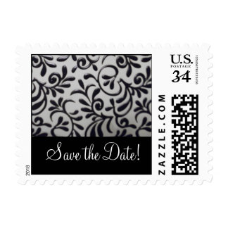 Save the Date Damask Swirl Postage Stamp