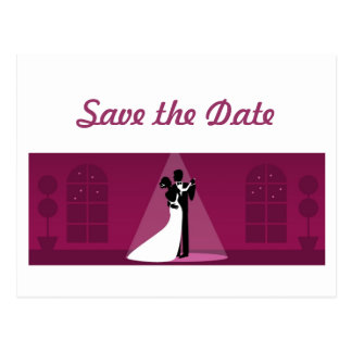 Save the Date Dancing Bridal Couple Postcard