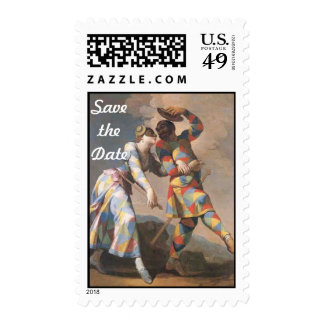 Save The Date Dancing Clown Couple Postage Stamp