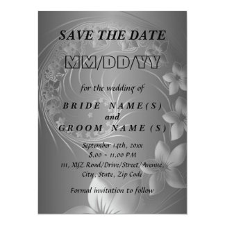 Save the Date - Dark Gray Abstract Flowers Card