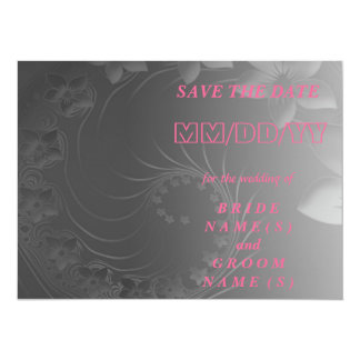 Save the Date - Dark Gray Abstract Flowers 5.5x7.5 Paper Invitation Card