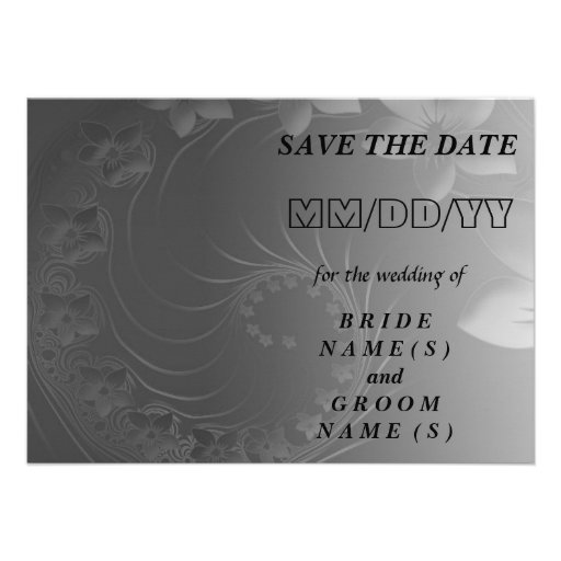 Save the Date - Dark Gray Abstract Flowers Personalized Invitation