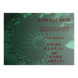Save the Date - Dark Green Abstract Flowers Card