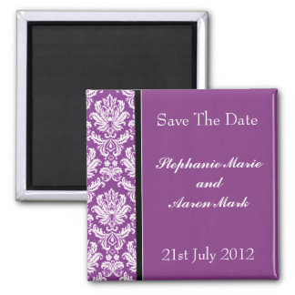 Save The Date -  Dark Purple Classic Damask 2 Inch Square Magnet