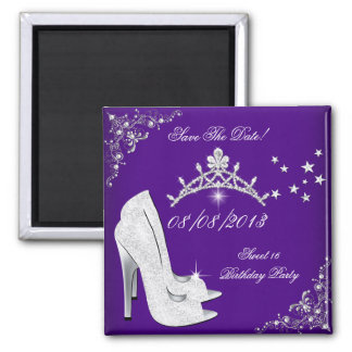 Save The Date Dark Purple High Heels Shoes Tiara 2 Inch Square Magnet