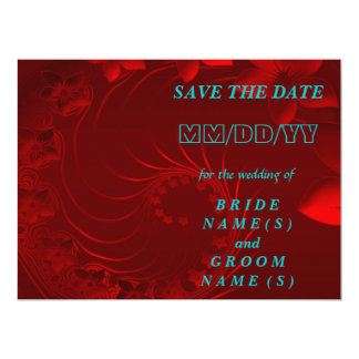Save the Date - Dark Red Abstract Flowers Card