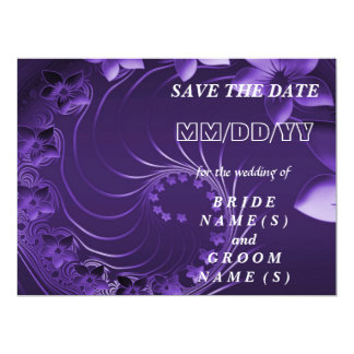 Save the Date - Dark Violet Abstract Flowers 6.5x8.75 Paper Invitation Card