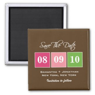 Save The Date: Date Blocks - Fuchsia Green magnet