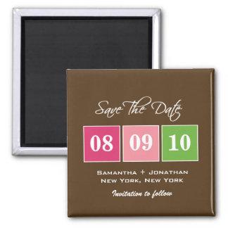 Save The Date: Date Blocks - Fuchsia Green Magnet
