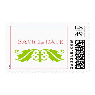 Save the Date December Wedding Postage Green Red