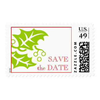 Save the Date December Wedding Postage Red Green
