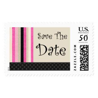 Save The Date Deco Pink Custom Postage