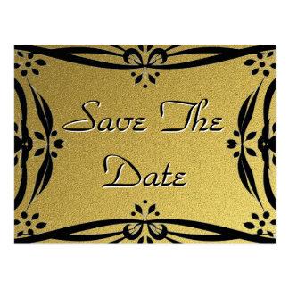 Save The Date Decorative Gold & Black Postcards