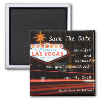 Save The Date Destination Las Vegas Wedding 2 Inch Square Magnet